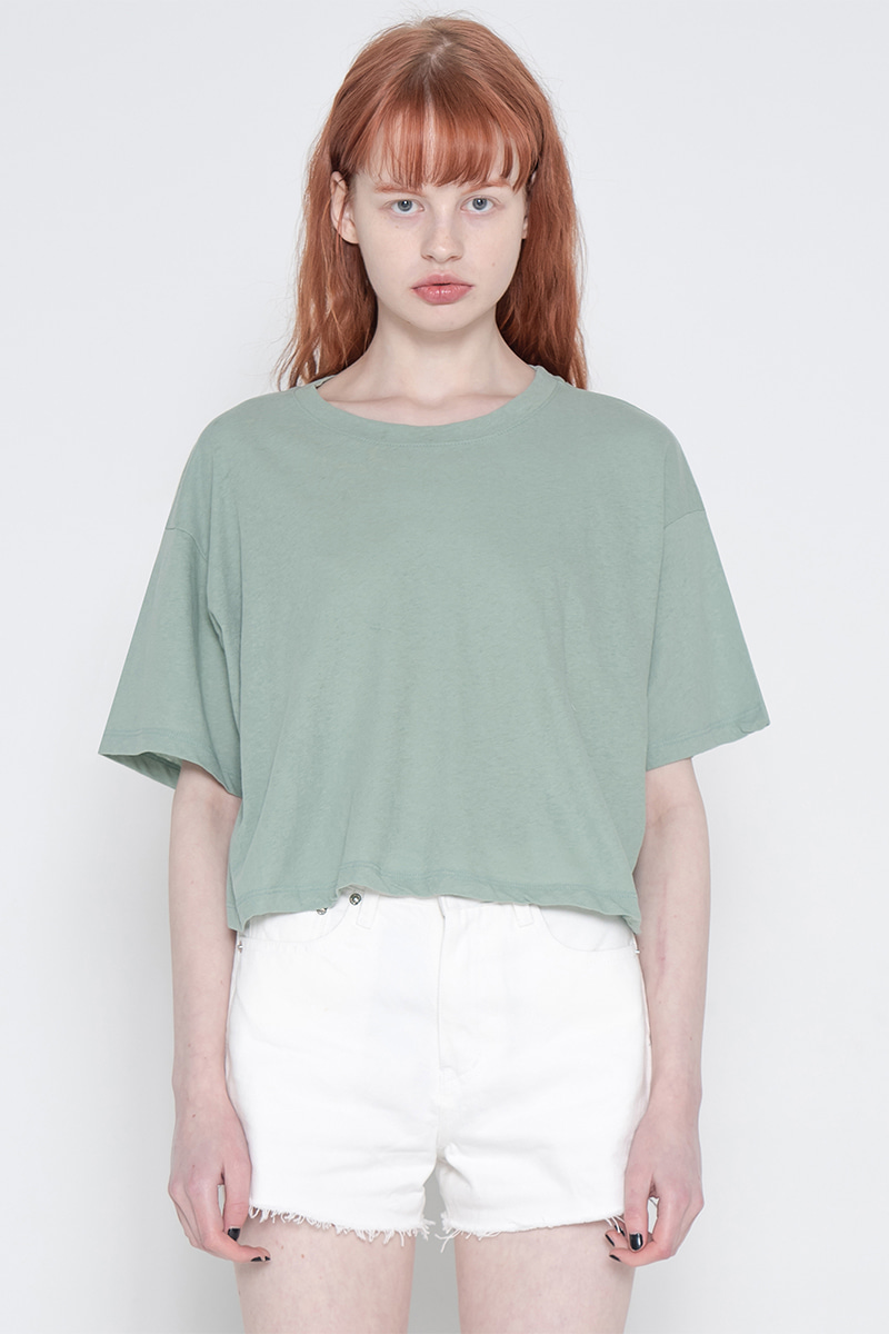 Solid crop T-shirt_green