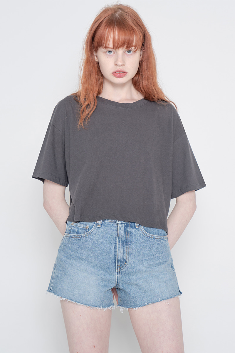 Solid crop T-shirt_charcoal