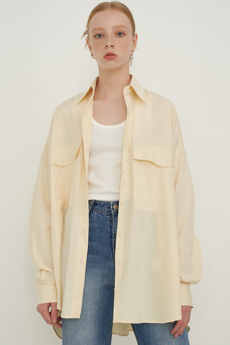 OVERFIT BIG POCKET BOXY SHIRT_YELLOW