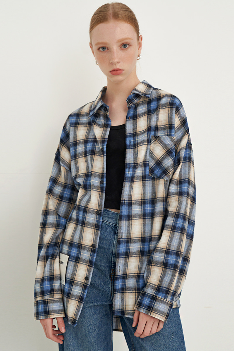 [UNISEX] OVERFIT SQUARE CHECK SHIRT_BLUE