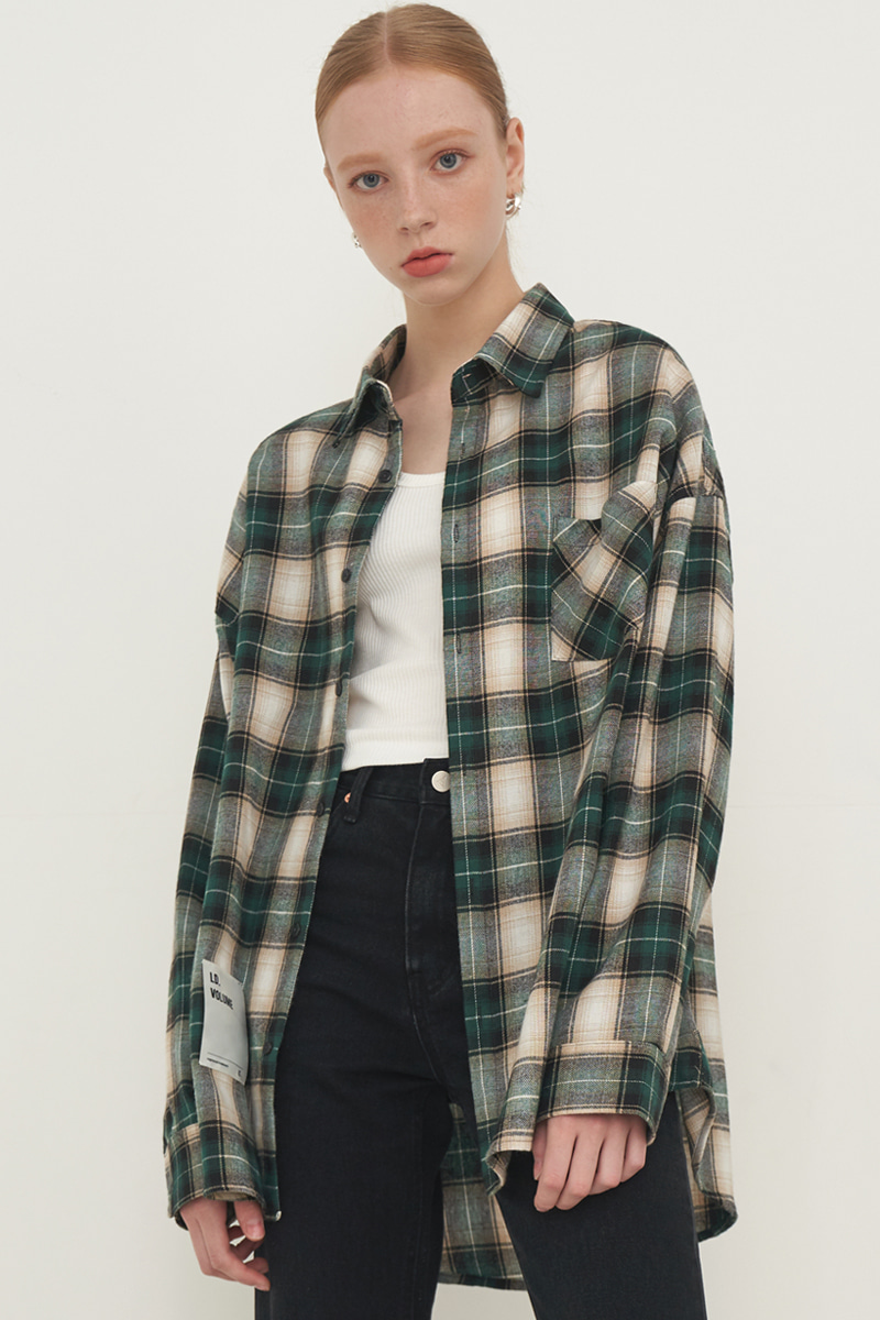 [UNISEX] OVERFIT SQUARE CHECK SHIRT_GREEN