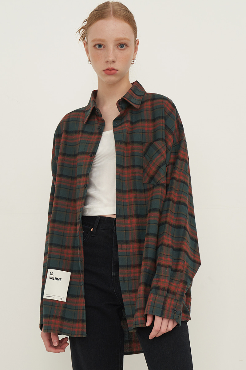 [UNISEX] OVERFIT BASIC PLAID SHIRT_BROWN